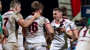 Ulster players show their delight at the final whistle