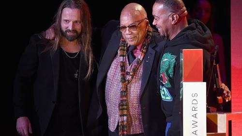Max Martin, Quincy Jones and Timbaland speak onstage during Spotify's Secret Genius Awards, November 2018, LA