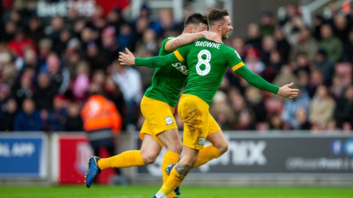 Alan Browne struck his 10th goal of the season for Preston North End at Stoke this afternoon