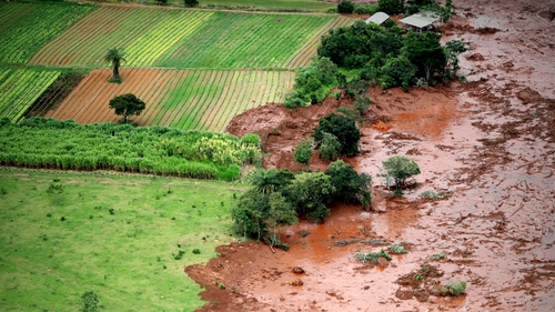 An aerial view shows mud and waste after the dam collapse in Brumadinho, Minas Gerais, Brazil