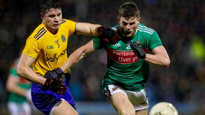 Mayo's Eoin O'Donoghue with Conor Daly of Roscommon