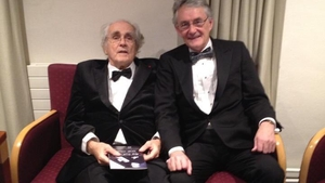 The composer Michel Legrand pictured with Carl Corcoran, then presenter of lyric FM's Blue of the Night in 2013.