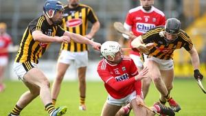 Kilkenny's Billy Ryan and Enda Morrissey tackle Luke Meade of Cork