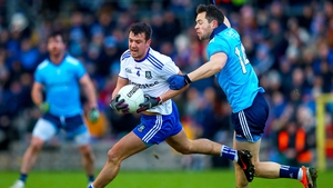 Dublin's Dean Rock with Ryan Wylie of Monaghan