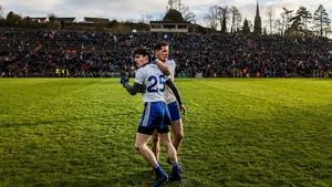 Goalscorer Stephen O'Hanlon celebrates with Conor McManus