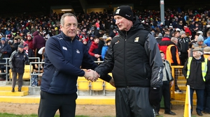 Brian Cody and John Meyler after their side's league clash in Nowlan Park