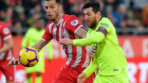 Messi in action in today's victory over Girona