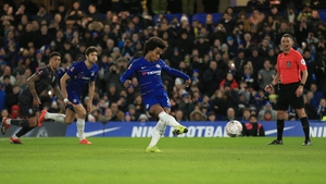 Chelsea's Willian scores from the penalty spot in today's FA Cup win over Sheffield Wednesday