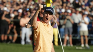 Justin Rose celebrates his 10th PGA Tour win at the Farmers Insurance Open in San Diego