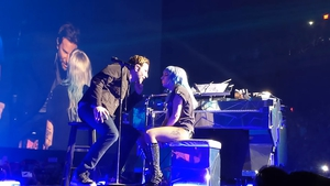 Bradley Cooper and Lady Gaga on stage in Vegas. Image: Youtube
