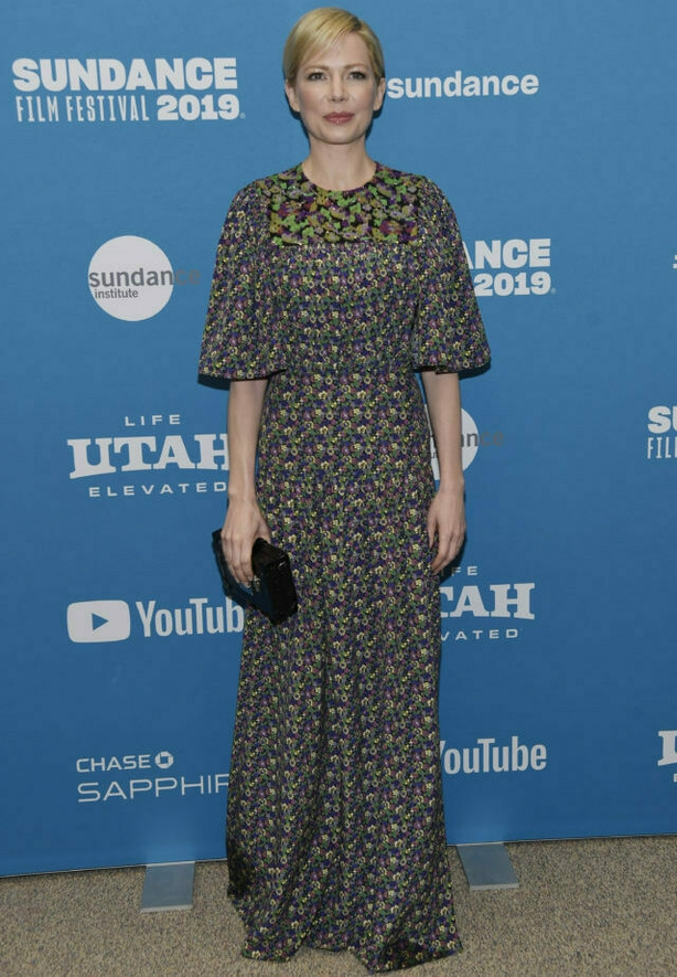"""Michelle Williams, a cast member in """"After the Wedding,"""" poses at the premiere of the film on the opening night of the 2019 Sundance Film Festival, Thursday, Jan. 24, 2019, in Park City, Utah. (Photo by Chris Pizzello/Invision/AP)"""