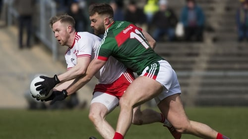 Mayo's Aidan O'Shea and Tyrone's Frank Burns in action during last year's league clash between the counties
