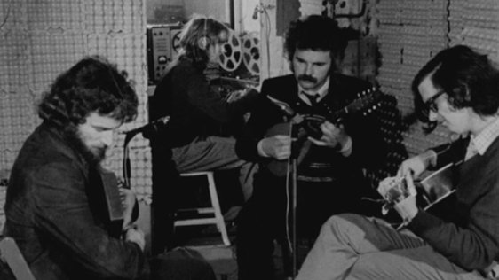 Chris Twomey, Niall Toner and Johnny Norris in Thrust Records recording studio, Terenure (1974)