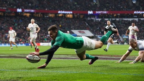 Jacob Stockdale stretches to score against England last year at Twickenham
