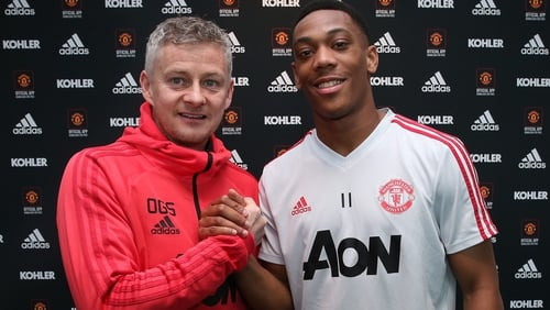Anthony Martial (R) with Manchester United boss Ole Gunnar Solksjaer