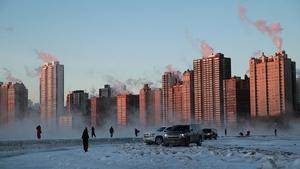 A frozen Chicago skyline