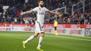 Karim Benzema celebrates against Girona