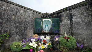 A shrine at the site of a former Mother and Baby home in Tuam, Galway