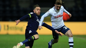 Richard Keogh of Derby County tackles his international team-mate Sean Maguire