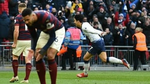 Son Heung-Min celebrates his 83rd minute goal against Newcastle United