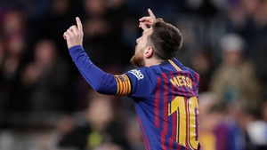 Lionel Messi celebrates as Barca fought back from 2-0 down