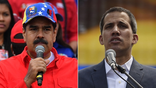 Socialist leader Nicolas Maduro (L) is becoming increasingly isolated, as Juan Guaido (R) has declared himself leader