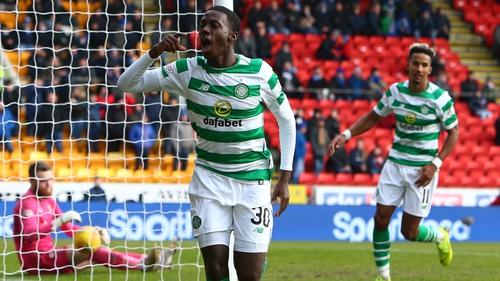 Timothy Weah celebrates Celtic's second at McDiarmid Park