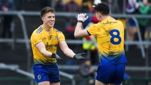 Roscommon's Ronan Daly and Tadgh O'Rourke celebrate at the full-time whistle