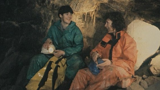 Jo-Ann Hanrahan and Antoinette Dawson in Aillwee Cave, County Clare (1989)