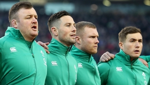 Dave Kilcoyne (L) with John Cooney, Keith Earls and Jordan Larmour before the England clash