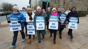 Nurses striking outside Vista Primary Care in Naas