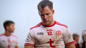 Tyrone's Kieran McGeary reacts after the defeat to Mayo