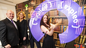 Phil Codd, Expleo Ireland, Mary Buckley, IDA Ireland and Minister of State, Pat Breen, pictured with Luna, Digital Fire Art Performer at the Expleo announcement (Credit: Leonard Photography)