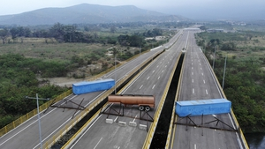 Aerial view of the Tienditas Bridge on the Colombia border blocked with containers ahead of an anticipated aid shipment