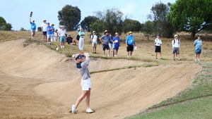 England's Charlie Hull plays out of the bunker at the Australian event