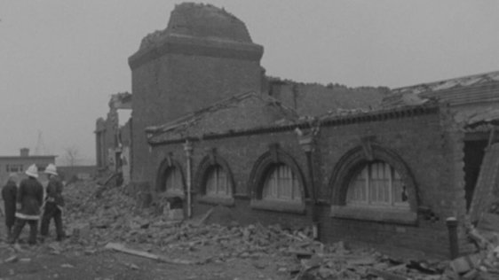 Dublin Corporation pumping house, Ringsend, following explosion (1969)