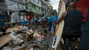 Hillside favelas were hit by mudslides