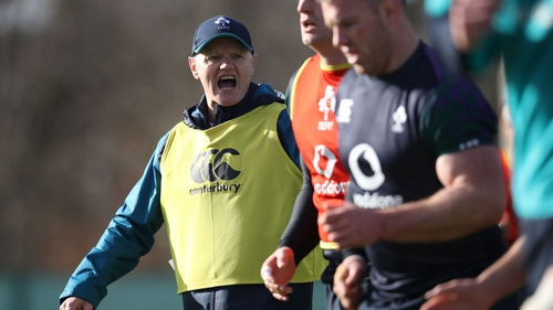 Joe Schmidt putting the Ireland squad through their paces at the team base at Carton House