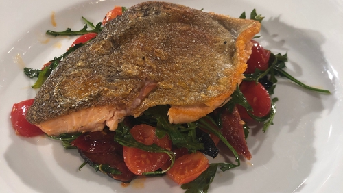 Jack O'Keefe's Super Crispy Trout with Chorizo, Cherry Tomatoes, and Rocket