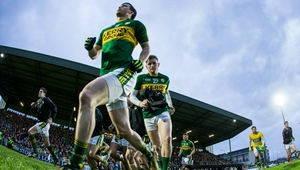 Kerry players take to the pitch at Austin Stack Park for the league meeting with Dublin in 2017