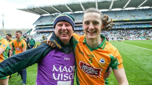 Kieran Molloy (R) celebrates Corofin's All-Ireland final victory over Nemo Rangers at Croke Park last year
