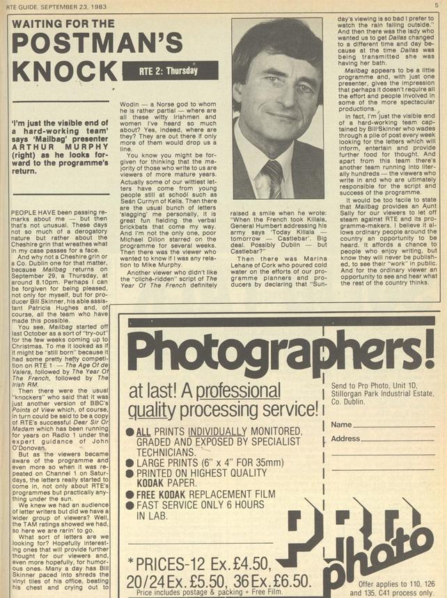 RTÉ Guide 23 September 1983, Mailbag's Arthur Murphy