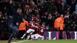 Andre Green of Aston Villa celebrates his dramatic leveller