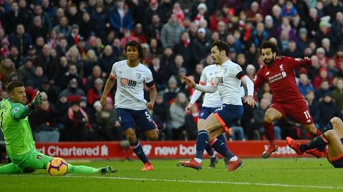 Mohamed Salah scores Liverpool's third goal