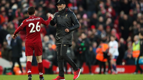 Jurgen Klopp congratulates Andrew Robertson after the win over Bournemouth