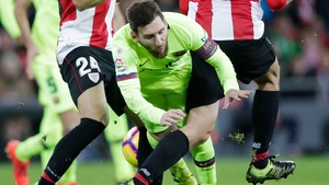 Lionel Messi is squeezed out against Athletic Bilbao