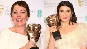 The Favourite stars Olivia Colman (left) and Rachel Weisz savour their wins Photos: Dave J Hogan, Getty Images