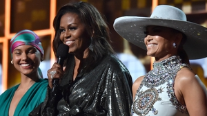 L-R: Alicia Keys, Michelle Obama and Jennifer Lopez at the 2019 Grammy Awards