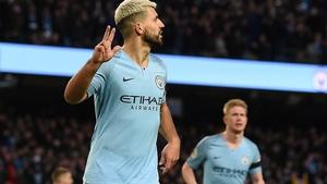 Sergio Aguero celebrates scoring his third and City's fifth goal against Chelsea