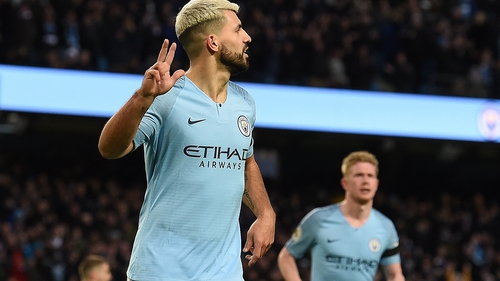 Sergio Aguero celebrates scoring his third and City's fifth goal against Chelsea